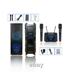 Double 15 Pouces 5000w Audio Actif Pa Powered Speaker 2ch Uhf Wireless Handheld MIC