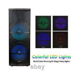 Dual 15 5000w Powered Active Speaker Rgb Led Lighting Usb 2ch Vhf Wireless MIC