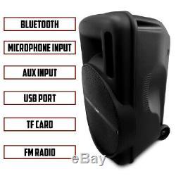 Fisher 15 Pouces Haut-parleur Sans Fil Portable Système, Lumières Colorées, Contrôle À Distance