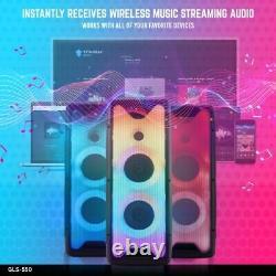 Gemini Pro Dj Audio Big Wireless Bluetooth Led Lights Party Speakers MIC Remote