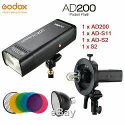Godox 2.4g Ad200 Ttl Caméra Pocket Flash + S2 + Support Ad-s11 + Ad-s2