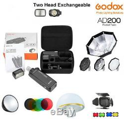 Godox Ad200 200ws 2.4g Flash Ttl 1/8000 Hss Monolight Pour Nikon Canon Sony Fuji