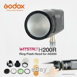 Godox H200r Anneau Flash Head Soft Light Ak-r1 Accessoires Kit Pour Ad200 Flash