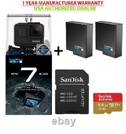 Gopro Hero 7 Black USA Edition+ 2usa Gopro Batteries+sandisk Extreme 64 Go Bundle