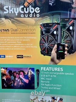Haut-parleur Bluetooth 15 Skycube 15000 Watts P. M. P. O MIC À Distance Rechargeable Fm/us