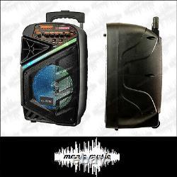 Haut-parleur Bluetooth Et Microphone Sans Fil 150w 8 Portable Dj Pa Fm Rec Led