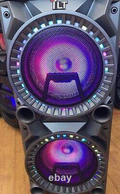 Haut-parleur Dj Rechargeable Bluetooth De 10 Pouces Avec Lumières + Micro Filaire