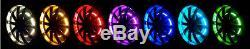 Lumières De Jante De Roue Rvb Led Kit De 4 Bagues Avec Double Télécommande Sans Fil 288 Del