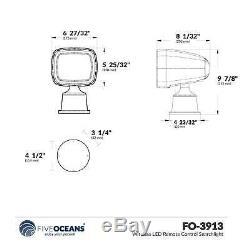 Marine Led Télécommande Sans Fil Searchlight De Contrôle Pour Bateaux Et Véhicules Récréatifs, 12v Five Oceans