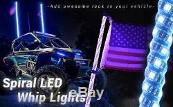 Mictuning 2x Led 4ft Lighted Spirale Fouet Drapeau D'antenne À Distance Pour Vtt Polaris Rzr