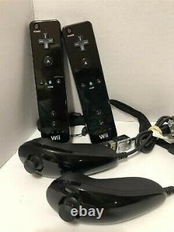 Nintendo Wii Black Console Rvl-001 Super Mario Bros Bundle Testé Travail