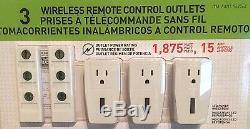 Nouveau Capstone 3 Télécommande Sans Fil Prise De Courant Interrupteur + 2 Distants Nib