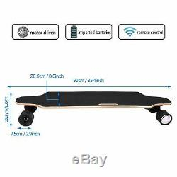 Planche À Roulettes Électrique Longboard Motorisé 20mph 250w Télécommande Sans Fil Fitne Contrôle
