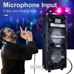 Portable Dual 10 Bluetooth Haut-parleur Système Pa Subwoofer Karaoke Led Aux Recharge