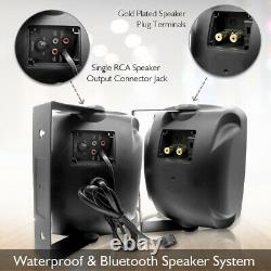 Pyle Pdwr64btb Waterproof & Bluetooth 6.5'' Système De Haut-parleur Intérieur / Extérieur Noir