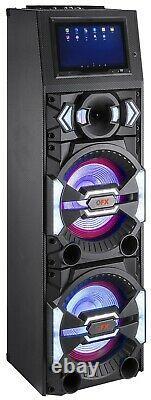 Qfx Sbx-212w 2 X 12 Karaoké Pa Haut-parleur +11.6 Wi-fi LCD +bluetooth+usb/sd/fm/eq
