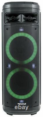 Rockville Go Party Zr10 Dual 10 Portable Sans Fil Led Bluetooth Speaker+uhf MIC