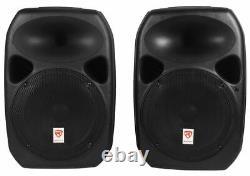 Rockville Rpg122k Dual 12 Haut-parleurs Alimentés, Bluetooth+mic+speaker Stands+cables