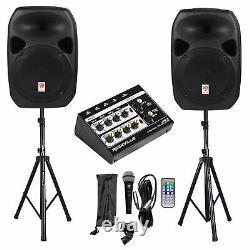 Rockville Rpg122k Dual 12 Haut-parleurs Powered+bluetooth+mic+stands+cables+mixeur