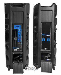 Rockville Rpg225k Paire Dual 15 2000w Powered Dj Speaker System Avec Bluetooth+mic