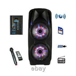 Siège 2x10 Portable Bluetooth Powered Pa Party Dj Speaker Avec Mic&lights
