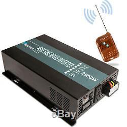 Solaire Onde Sinusoïdale Pure Onduleur 2500w 12 / 24v À 120 / 220v Télécommande Hors Réseau