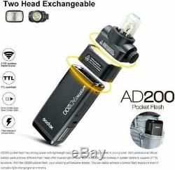 Us Godox 2.4g Ad200 Ttl Double Tête Pocket Flash Li-ion Speedlite + Réflecteur