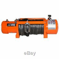 Win-2x 12000lbs Treuil Électrique Sans Fil Orange Synthétique Corde Vtt Utv Bateau 12v